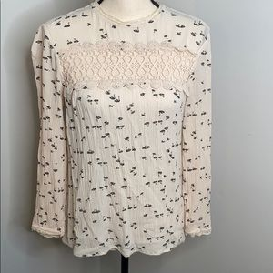 hinge swan pattern crochet and lace top - XS